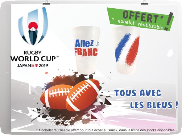 C'est parti pour la coupe du monde de Rugby ! Venez chercher votre gobelet ALLE