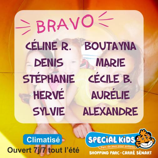 Félicitations  à nos 10 gagnants* qui remportent une #entrée chez Special Kids,