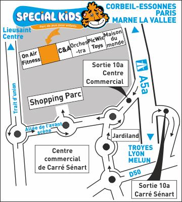 Plan d'accès SPECIAL KIDS - Shopping Parc de Carré Sénart - 360x400